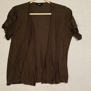 Green short sleeve cardigan